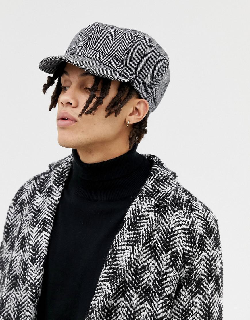 ASOS Baker Boy Hat In Oversized Black Herringbone in Black for Men ... a06a641a69eb