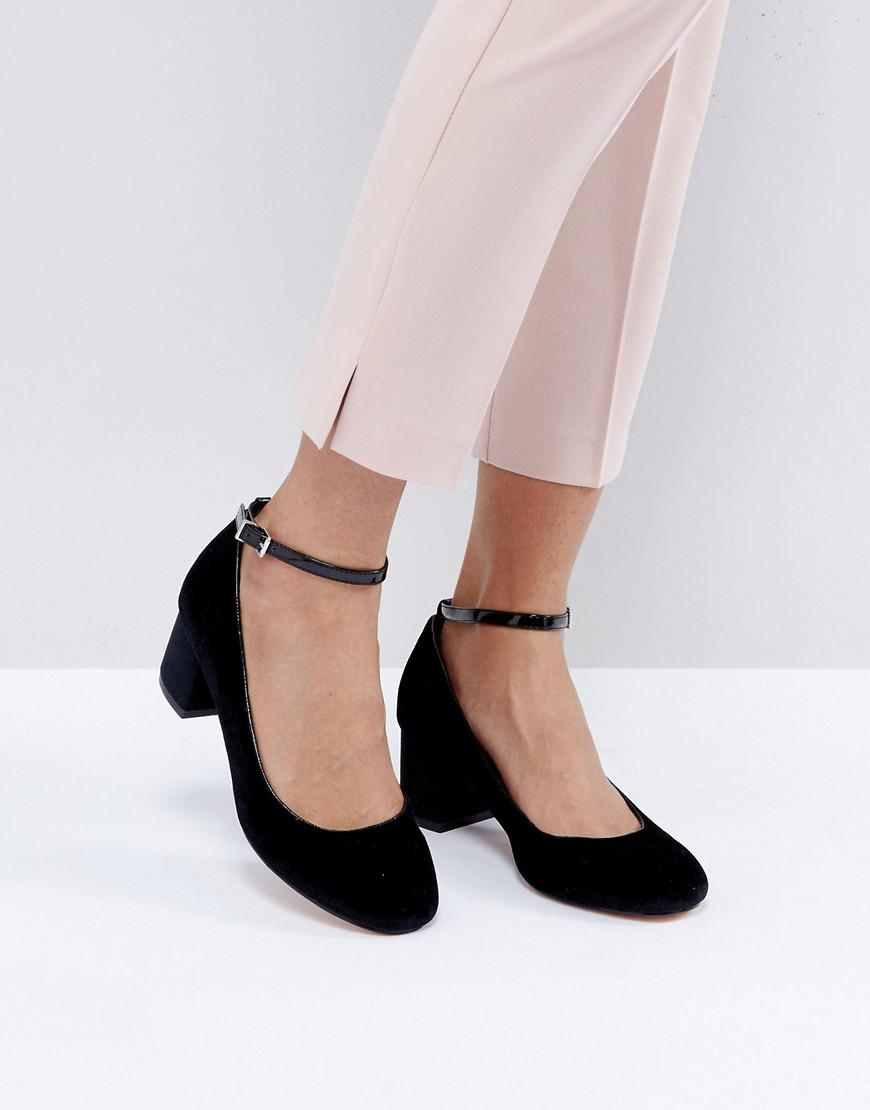 Faith Alexia Ankle Strap Block Heeled Shoes In Black Lyst
