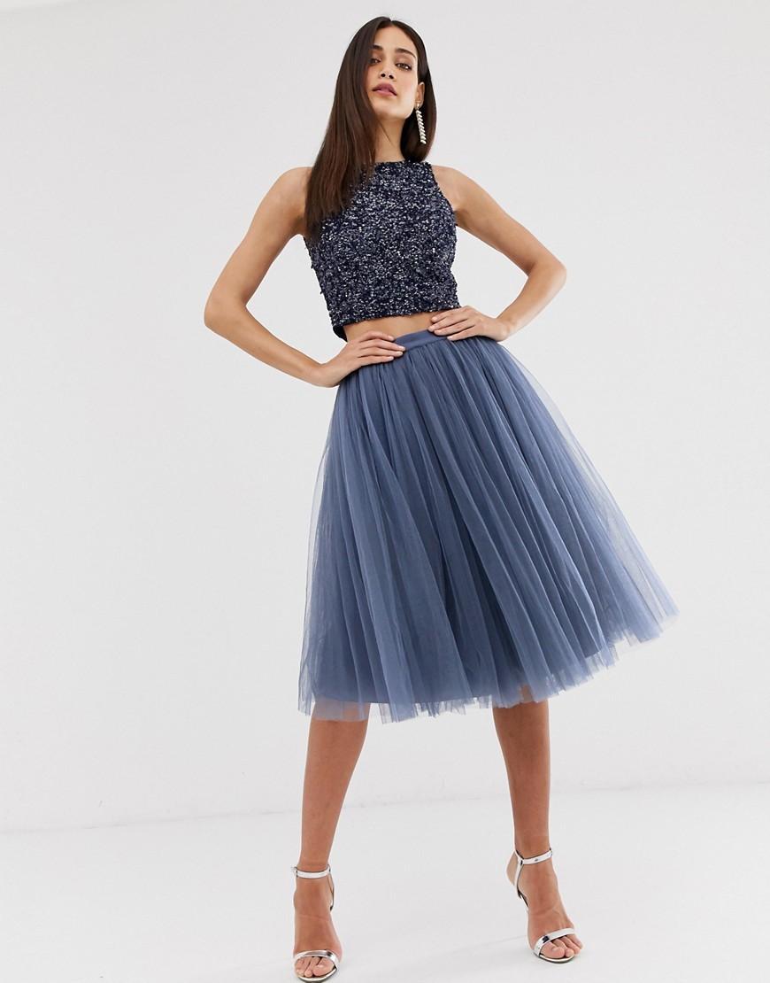 e7259a666 Jolie Moi Tulle Midi Skirt Grey | Saddha