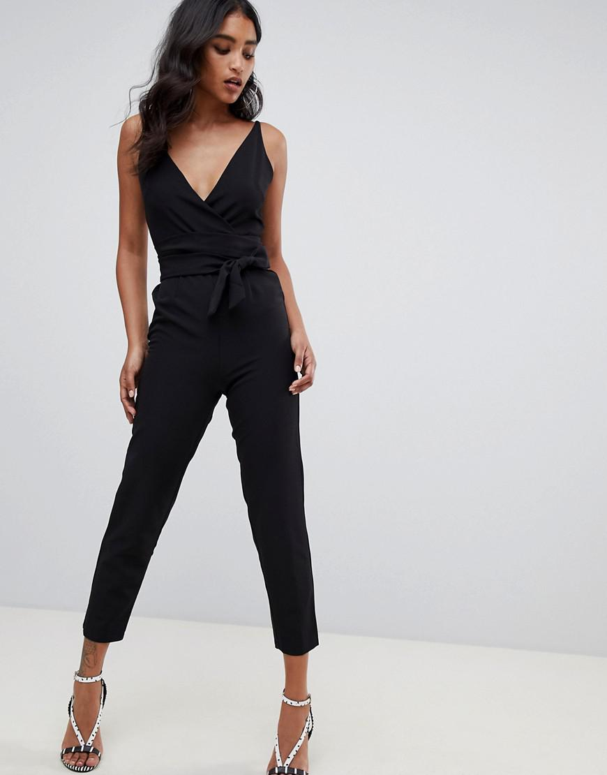 bdcb6ab38128 ASOS Wrap Front Jumpsuit With Peg Leg And Self Belt in Black - Lyst