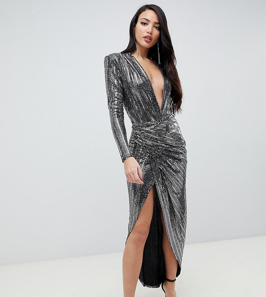 29837f7da075 John Zack Contrast Wrap Front Sequin Maxi Dress In Silver in ...