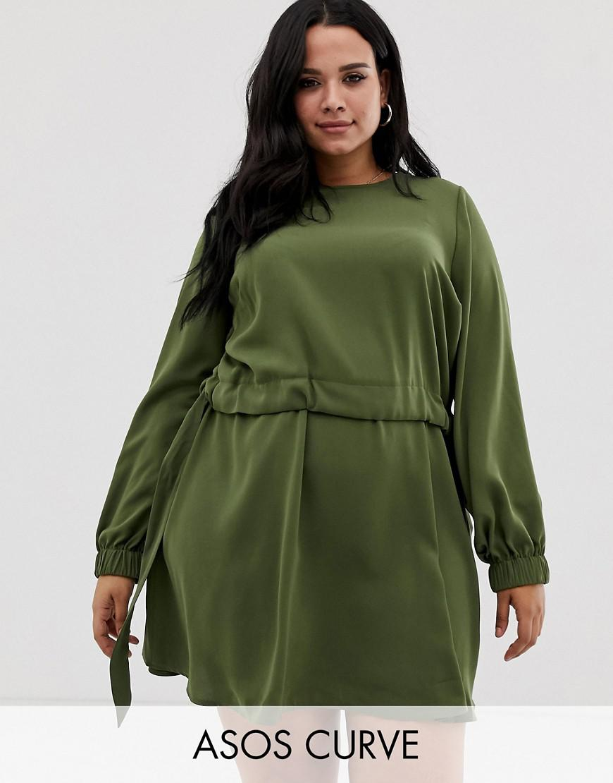 Asos Asos Design Curve Ruched Waist Chuck On Mini Dress in Green - Lyst 55eaa2390