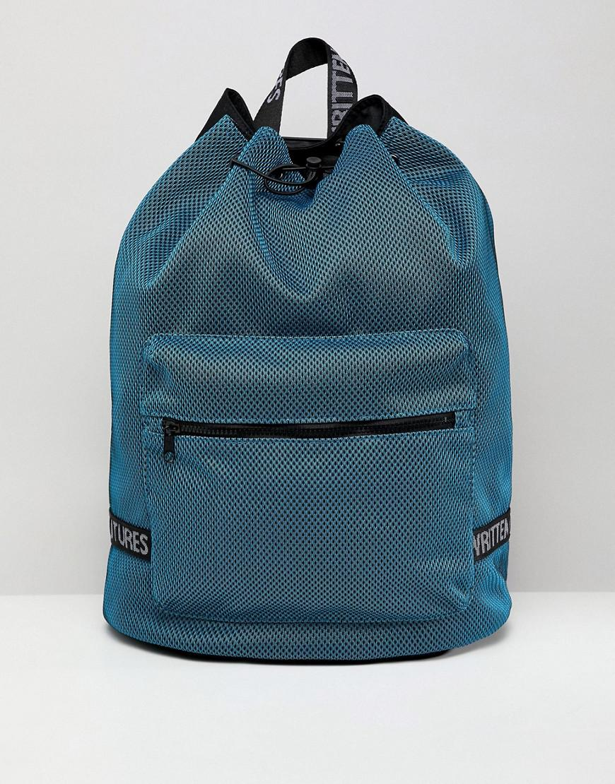 Asos Duffle Backpack In Blue Mesh With Internal Laptop Pouch in Blue ... d1c64b25292b9