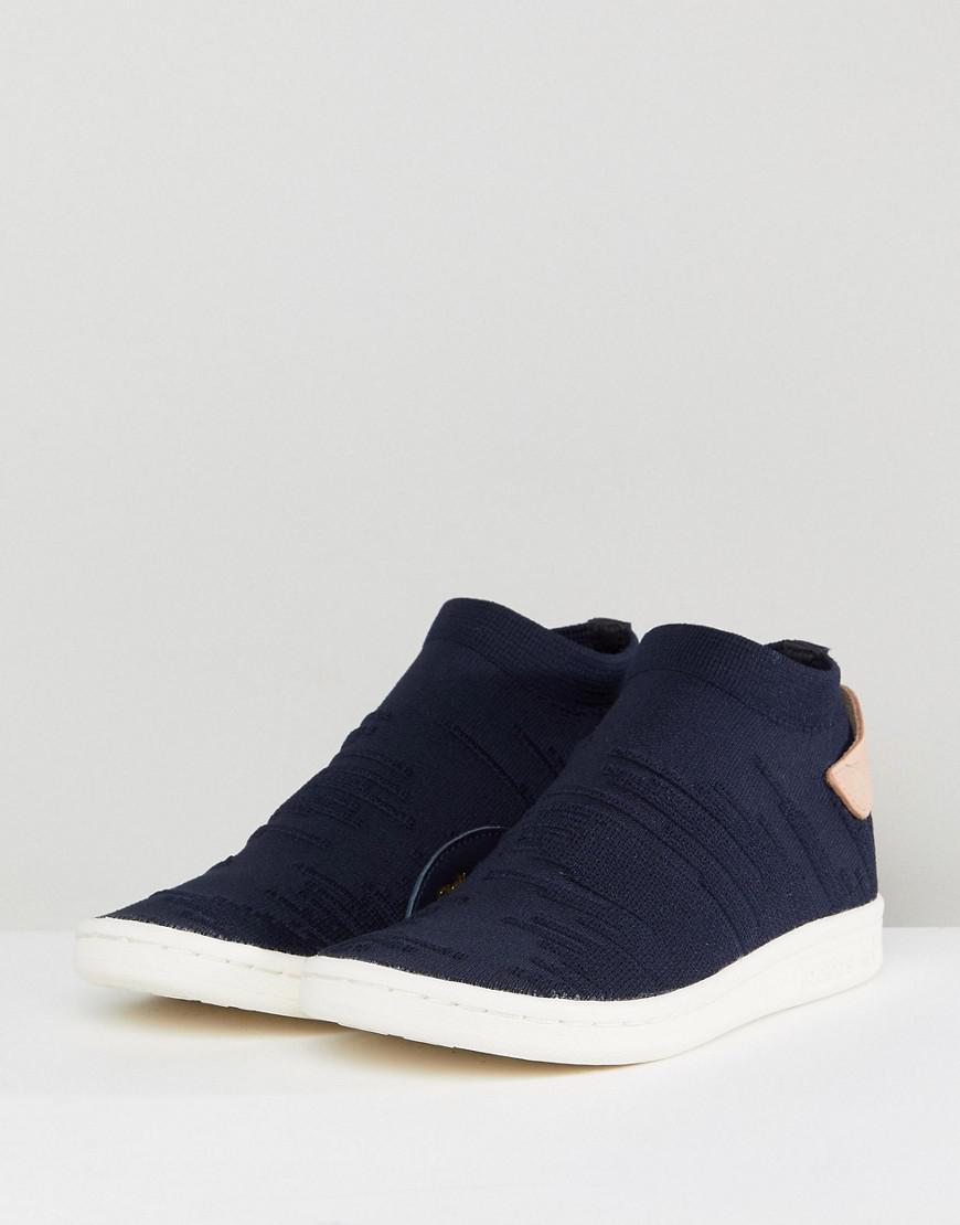 e1ce89fc1bf Lyst - adidas Originals Stan Smith Sock Primeknit Sneakers In Navy ...