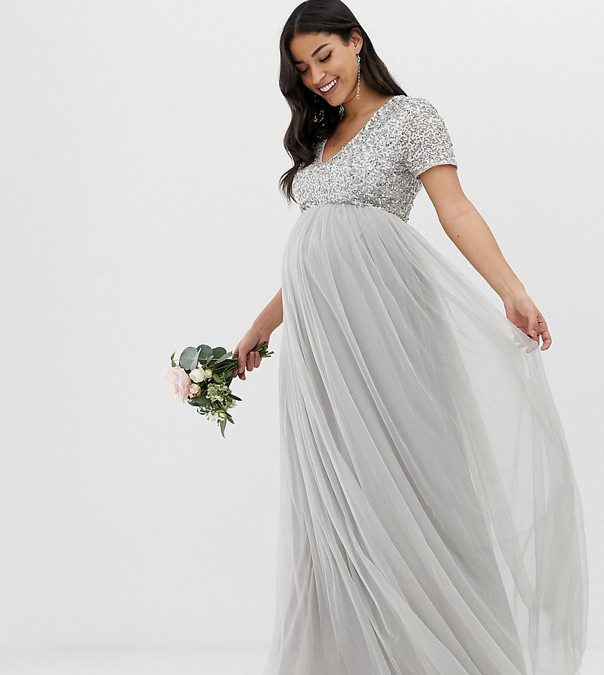 d84ca33a56309 Maya Maternity. Women s Gray Bridesmaid V Neck Maxi Tulle Dress With Tonal  Delicate Sequins In Soft Grey