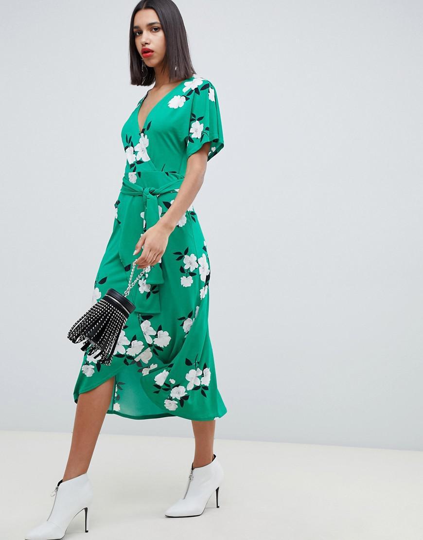 c909f2f7636cc Lyst - ASOS Green Floral Wrap Maxi Dress in Green