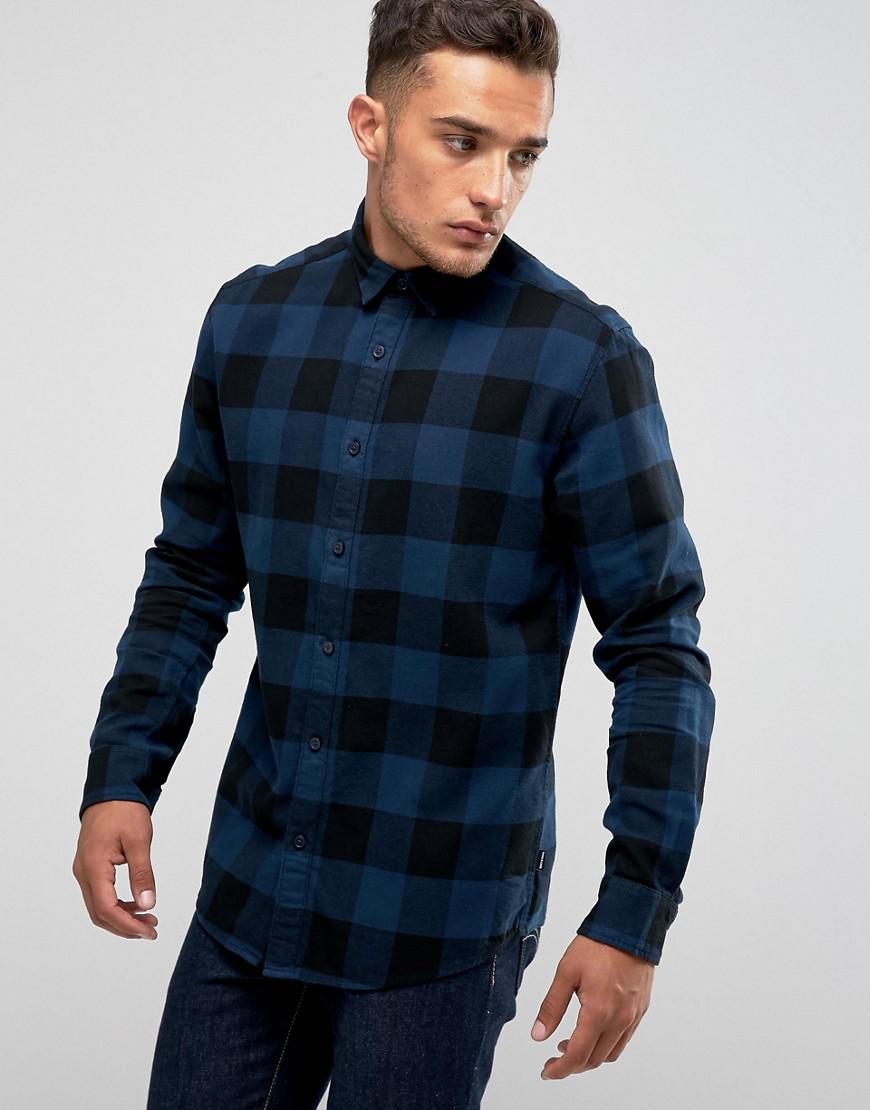 Lyst only sons check shirt in slim fit in blue for men for Slim fit check shirt