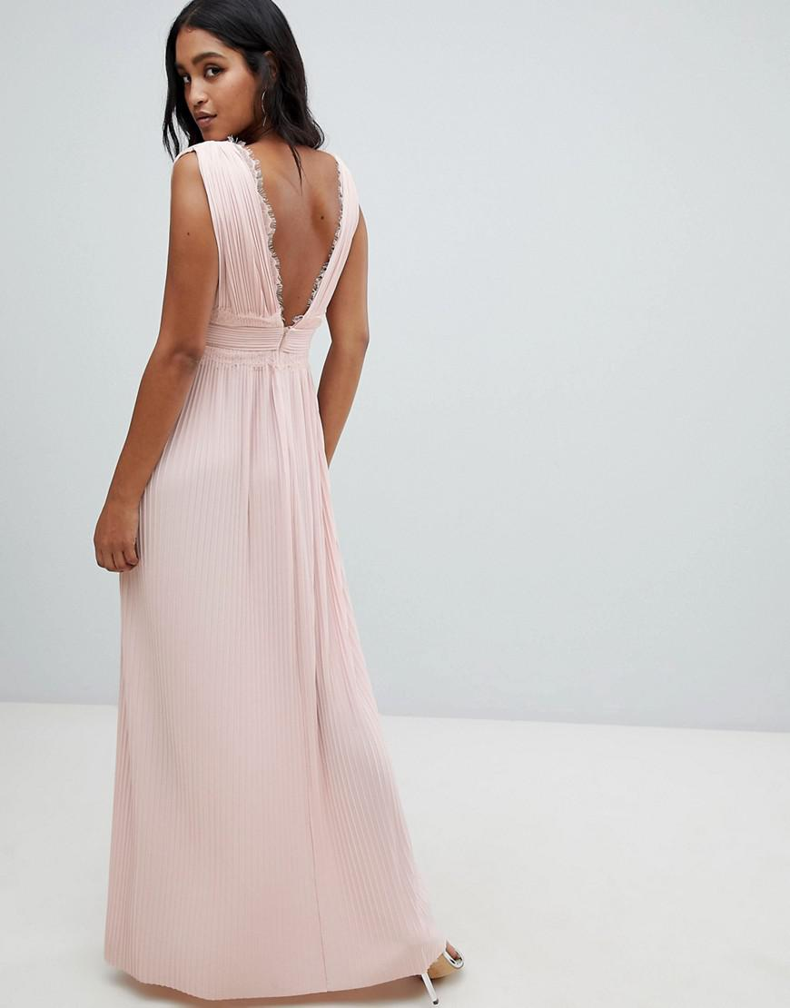0b73096aed ASOS Premium Lace Insert Pleated Maxi Dress in Pink - Lyst