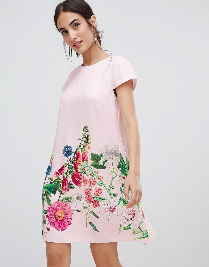 441f3cbf5b6 Ted Baker Gemma Florence Print Swing Dress in Pink - Lyst