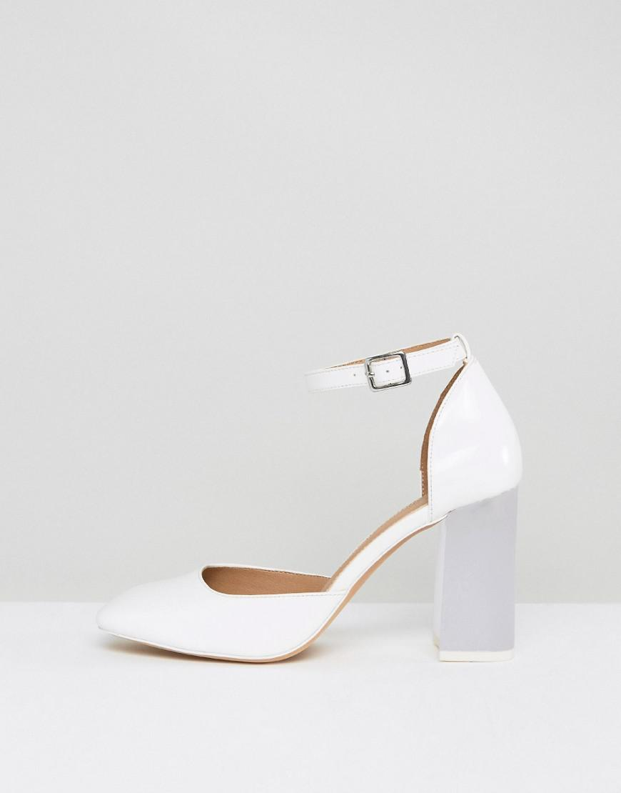 5b0995357bc ASOS Prima Donna High Block Heels in White - Lyst