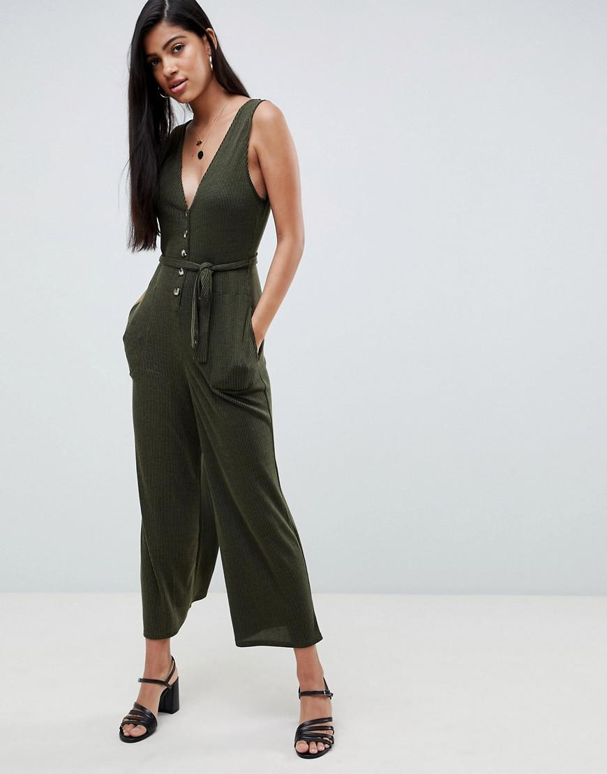 d6124a0a95 Lyst - ASOS V Neck Jumpsuit With Button Front In Slouchy Rib in Green