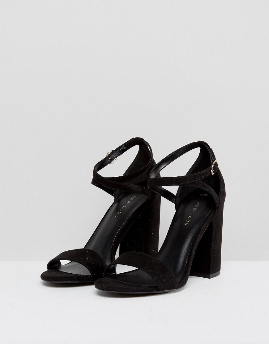 acf39238017 Lyst - New Look Pu Block Heel 2 Part Sandal in Black