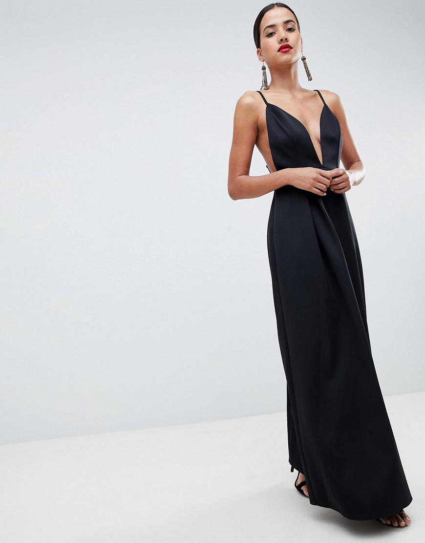 fc5e9aecc85 ASOS Strappy Plunge Maxi Prom Dress With Open Back in Black - Lyst
