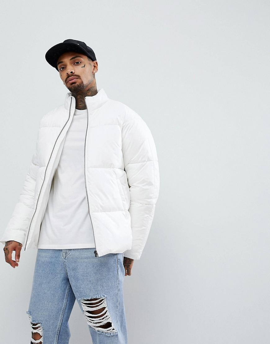 Lyst Asos Puffer Jacket In Ripstop In White In White For Men