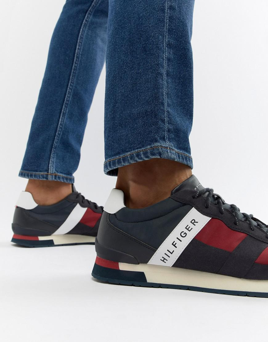 Tommy Hilfiger Icon Colors Logo Mix Materials Runner Sneakers in Red/White/Blue ddGbwIkFIk