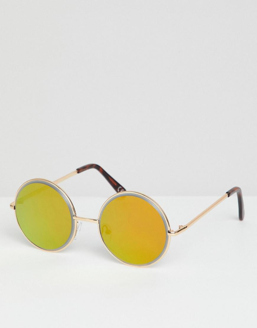 ca221b9188 Lyst - ASOS Round Sunglasses In Gold With Gold Bezelled Mirrored ...