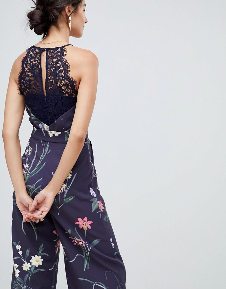 3b1bc4f103f Lyst - Oasis Jumpsuit With Lace Back Detail In Floral Print in Blue