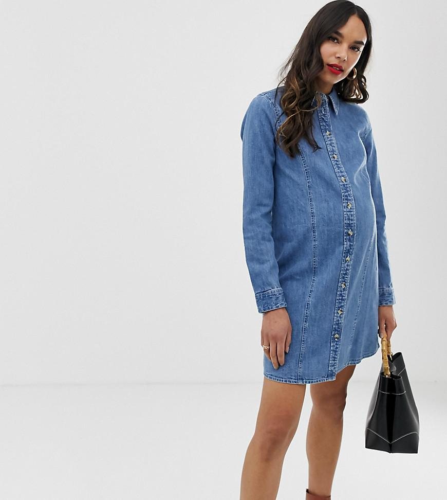 98579f4709 ASOS. Women s Asos Design Maternity Denim Fitted Western Shirt Dress In Midwash  Blue