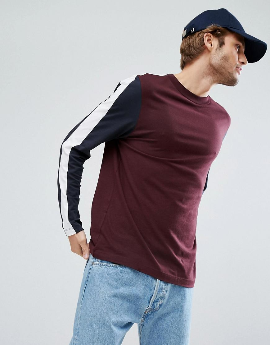 Lyst Asos Relaxed Long Sleeve T Shirt With Cut And Sew