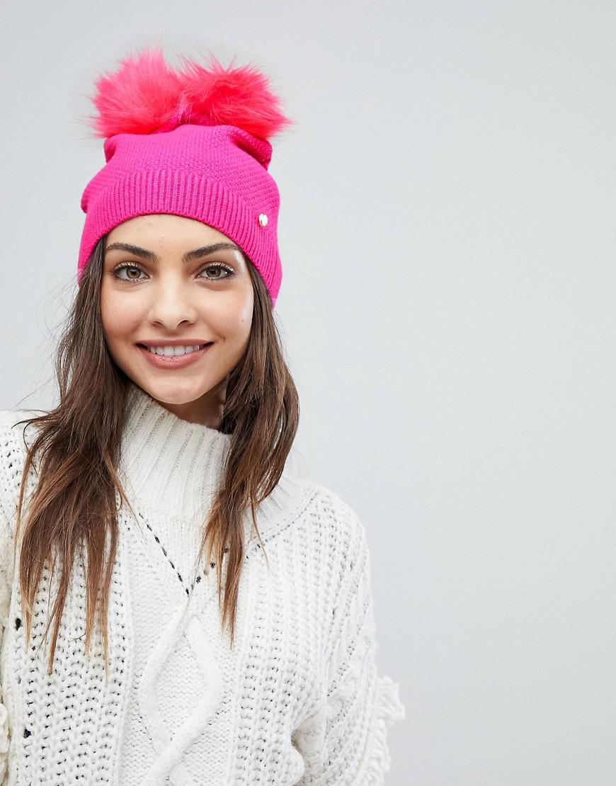 Lyst - Ted Baker Double Pom-pom Hat in Pink e0811701042a