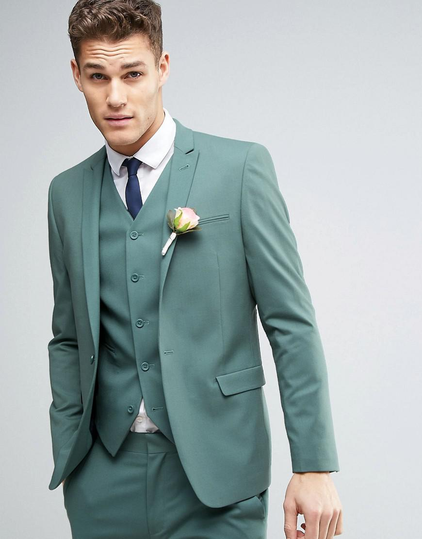 Lyst - Asos Wedding Skinny Suit Jacket In Pine Green in Green for Men