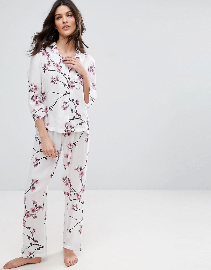 c96103db0e7 ASOS Cherry Blossom Traditional Shirt & Trouser Pyjama Set - Lyst
