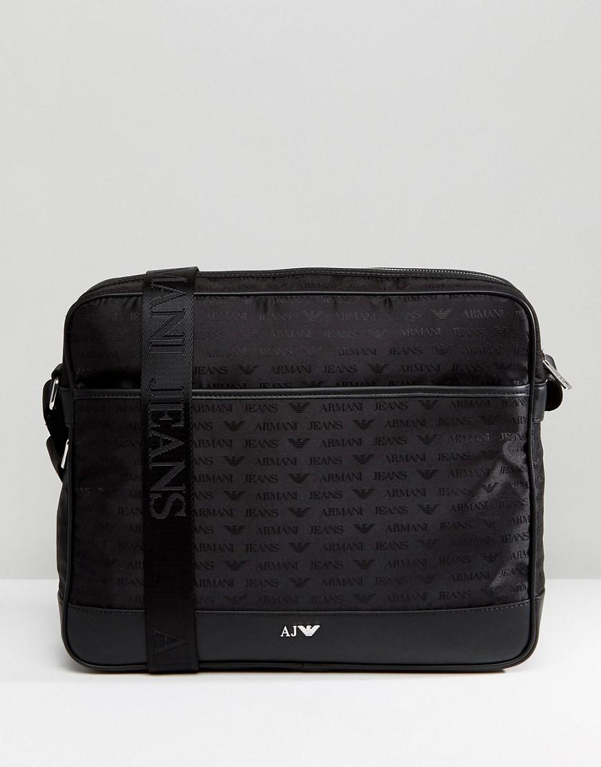 Armani Jeans Nylon All Over Logo Messenger Bag In Black in Black for ... cfcded68a7