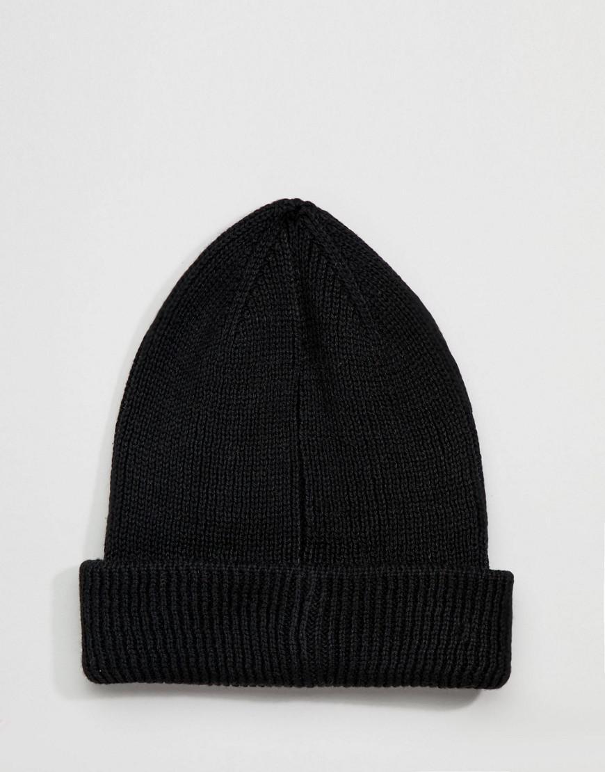 Boyfriend Knit Beanie With Double Turn Up - Black Asos D001GA