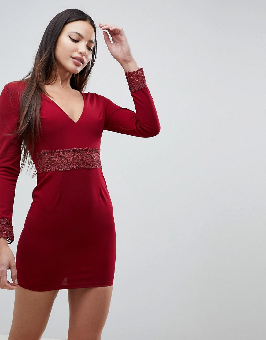 0e4104b7b9 Lyst - AX Paris Long Sleeve V Neck Dress With Lace Detail in Red