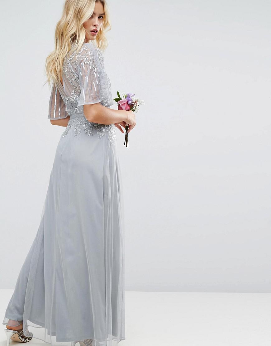 28f57207251 ASOS Design Bridesmaid Embellished Lace Insert Flutter Sleeve Maxi ...