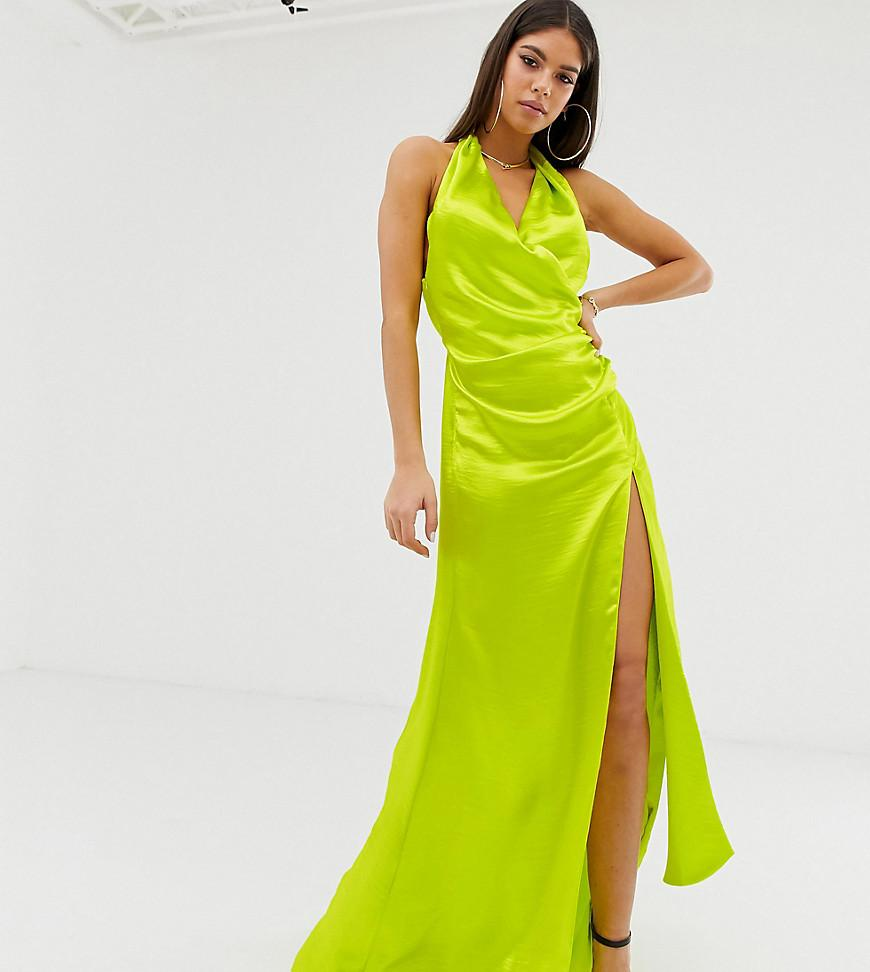 4e4afadc73378 ASOS Tall Halter Maxi Dress In High Shine Satin With Drape Neck in ...