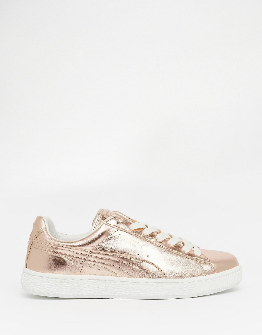 Lyst - PUMA Basket Trainers In Rose Gold Metallic in Natural 482637262