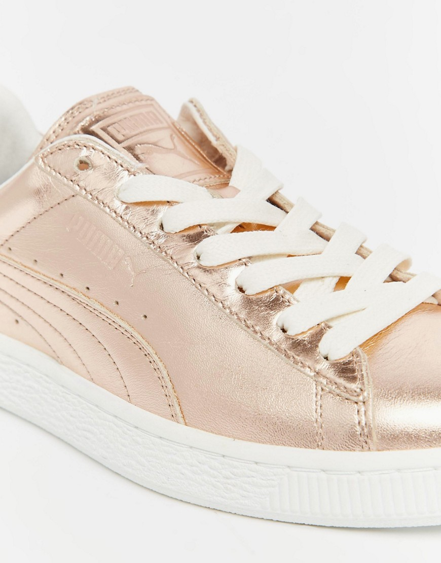 puma basket sneakers in rose gold metallic. Black Bedroom Furniture Sets. Home Design Ideas