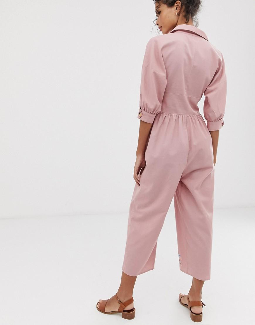 92e4e07c0f8d6 Lyst - ASOS Embroidered Linen Tea Jumpsuit in Pink