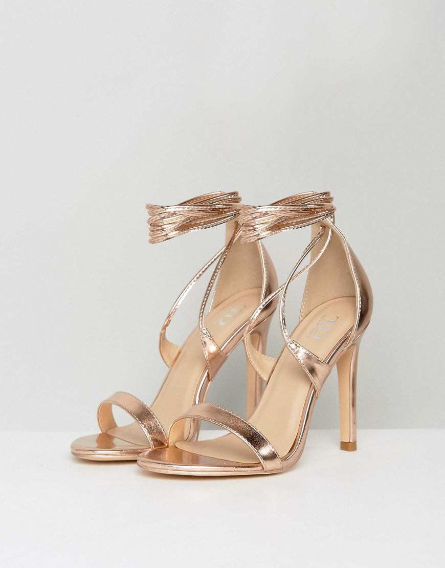 9a28ff15ea1 True Decadence Tie Up Heeled Sandals in Metallic - Lyst