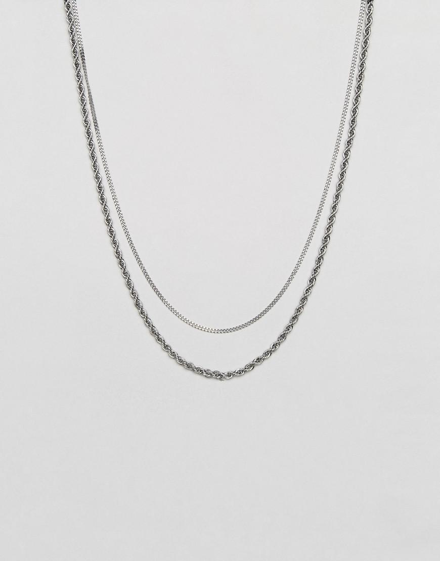 Diesel double chain design nacklace - Metallic CJowne