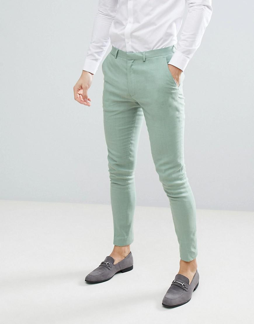 Asos Design Wedding Super Skinny Suit Trousers In Sage Green Linen ...
