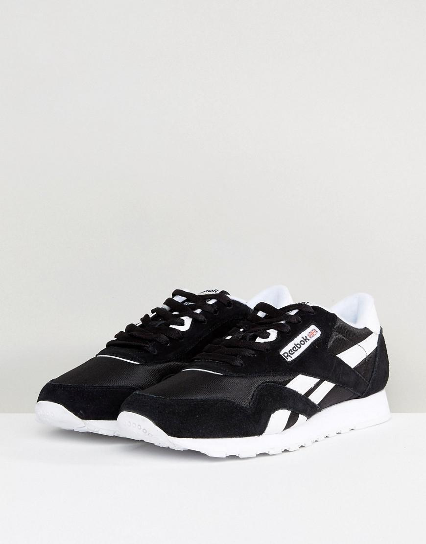 b8f9f4aba14 Reebok Classic Leather Nylon Trainers In Black 6604 in Black for Men - Lyst