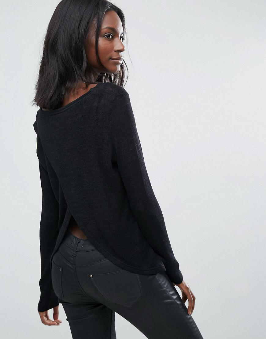 Vero Moda Knitting Yarns : Vero moda loose knit open back top in black lyst