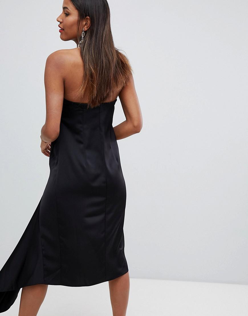 1c42bf614fc6 Lyst - ASOS Satin Bandeau Midi Dress With Drape Detail In Black in Black