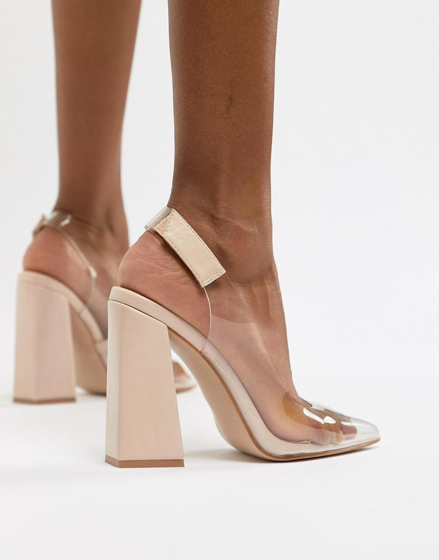 bbf7f42d2309 Lyst public desire lure nude clear detail block heeled shoes in pink jpg  870x1110 Clear pink