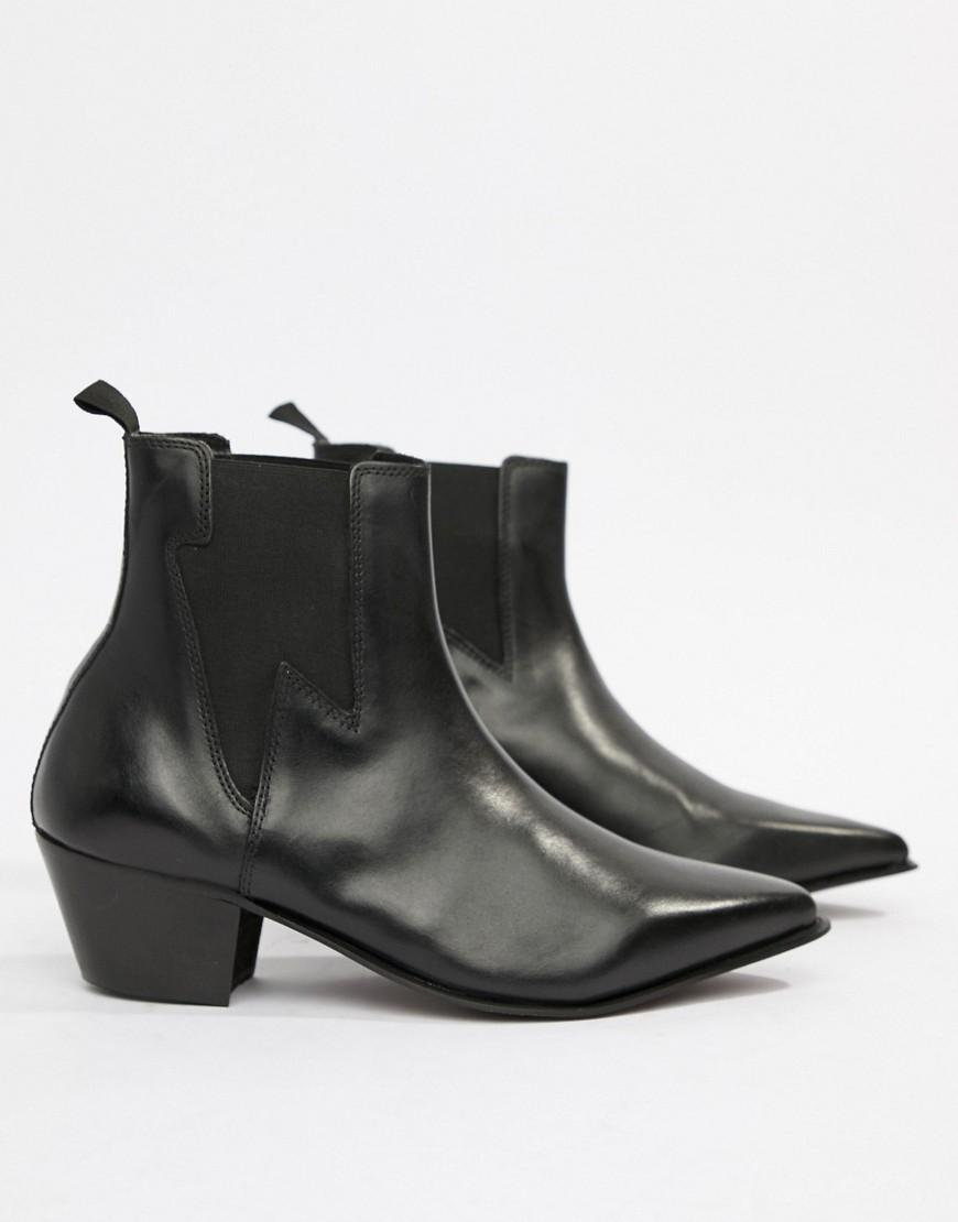 357f9d9edb5 Lyst - ASOS Wide Fit Cuban Heel Western Boots In Black Leather With  Lightning Detail in Black for Men
