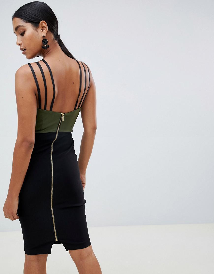 cac250e715 Vesper Colour Block Pencil Dress With Strappy Detail in Green - Lyst