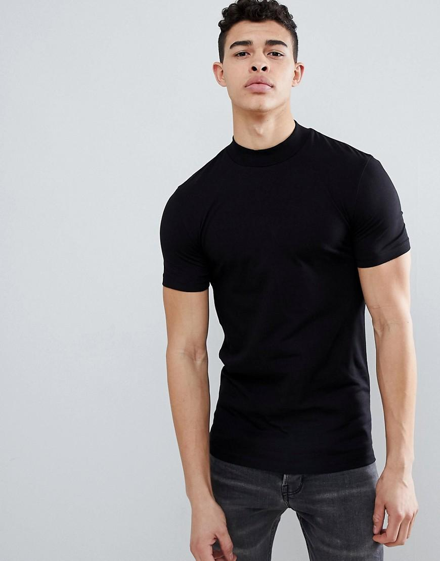 769fcf1bd5fa ASOS Muscle Fit Turtle Neck T-shirt With Stretch In Black in Black ...