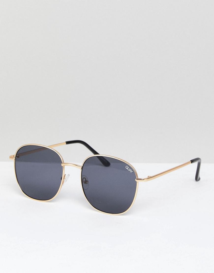5e37dc20c2 Lyst - Quay Jezabell Round Sunglasses In Gold smoke in Metallic for Men