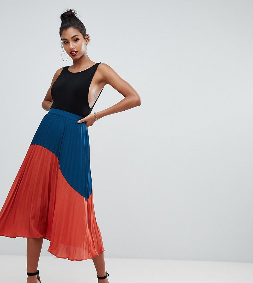 c873cf8a05f0 Boohoo Exclusive Color Block Pleated Midi Skirt In Multi in Red - Lyst