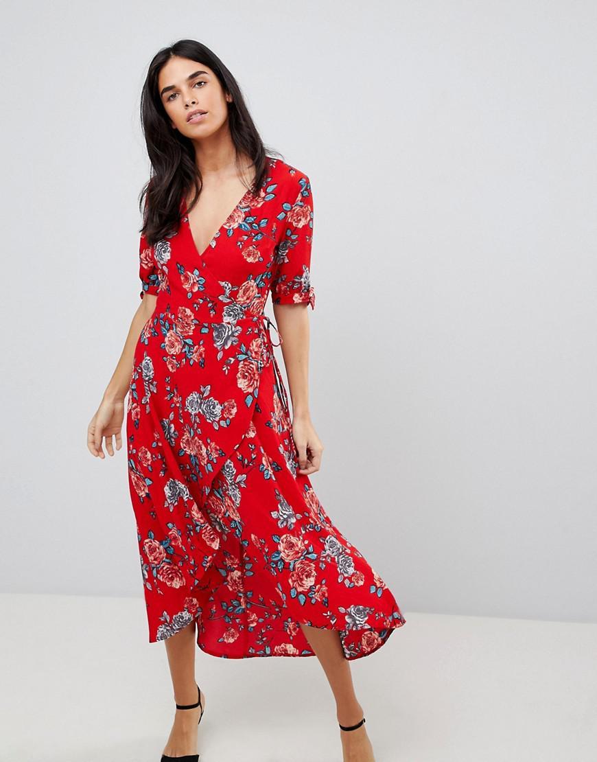 c7296fe387629 Lyst - AX Paris Floral Wrap Midi Dress in Red