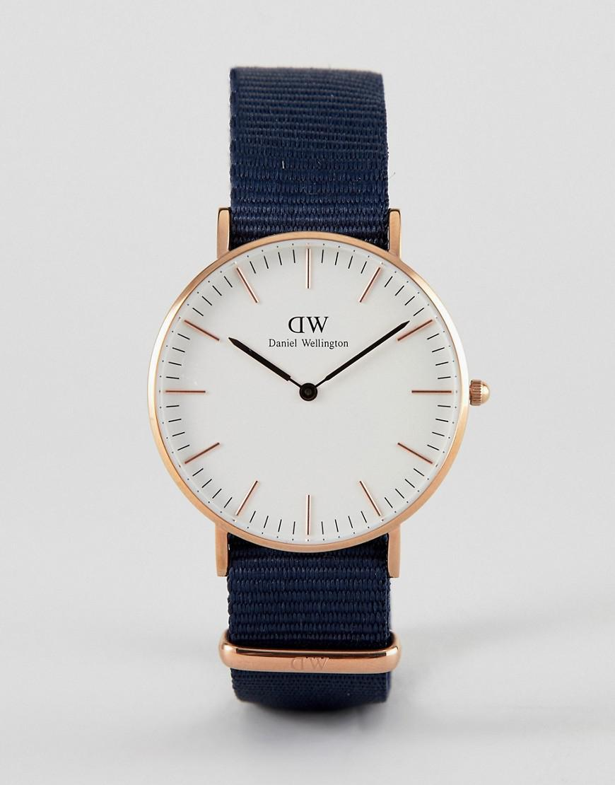 28698aa84cb7 Daniel Wellington - Blue Bayswater Watch In Rose Gold With Canvas Strap  36mm for Men -. View fullscreen