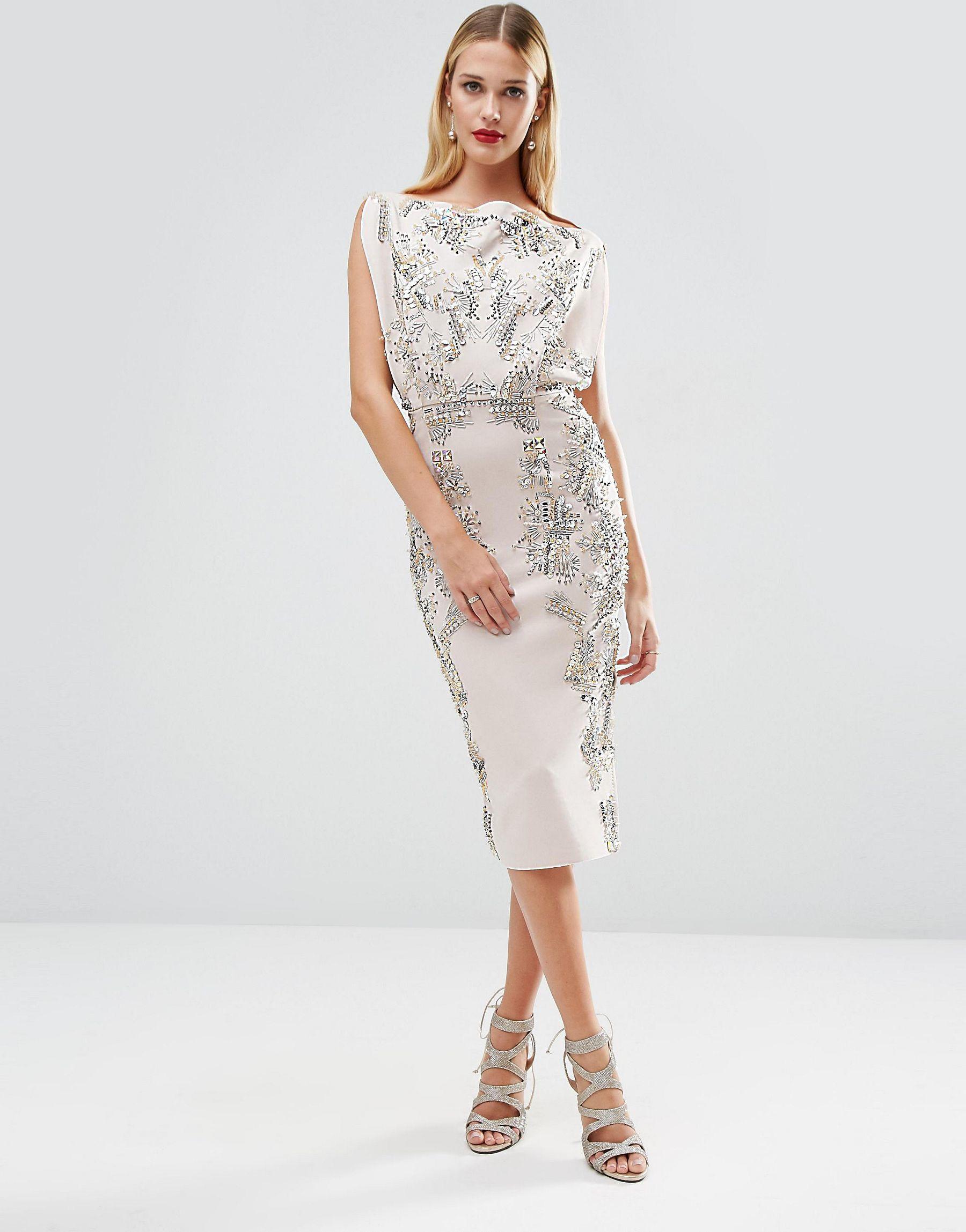 5998b695e26 ASOS Red Carpet Open Top Scuba Embellished Midi Dress - Lyst