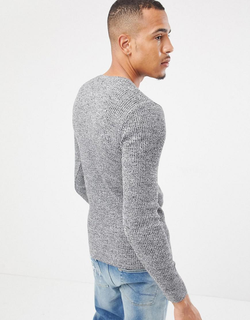 033778bf ASOS Tall Muscle Fit Ribbed Sweater In Black & White Twist in Gray for Men  - Lyst